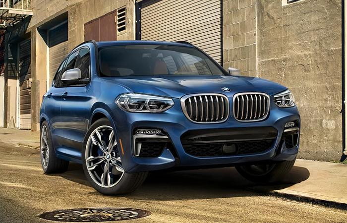 Front view of a blue BMW X3