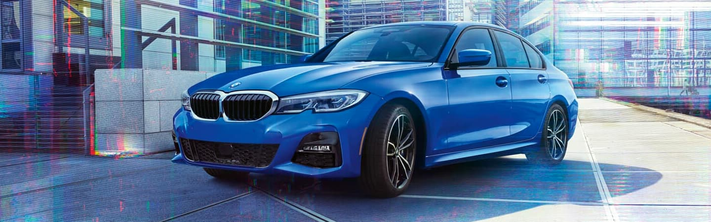 Blue 2020 BMW 3 Series Parked