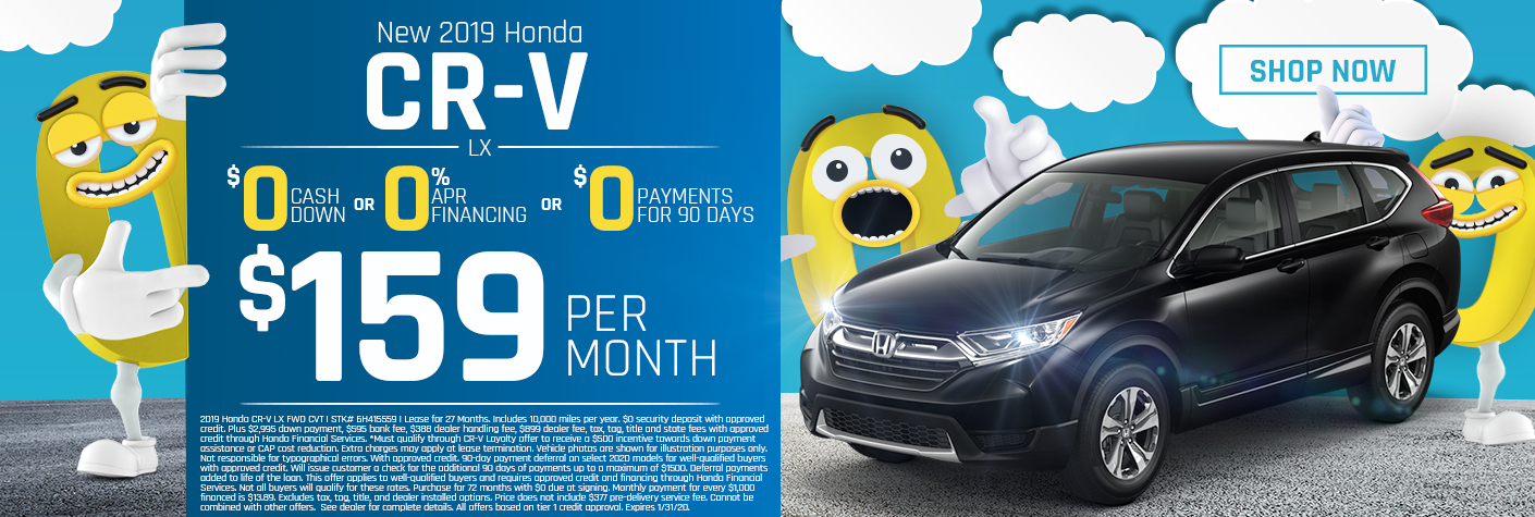 New 2019 Honda CR-V LX Lease for $159 Per Month for 27 months