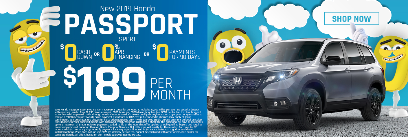 New 2019 Honda Passport Sport Lease for $189 Per Month for 36 months