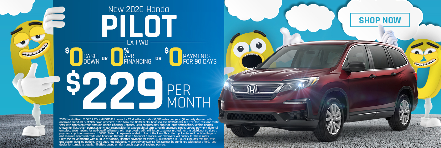 New 2020 Honda Pilot LX Lease for $229 Per Month for 27 months