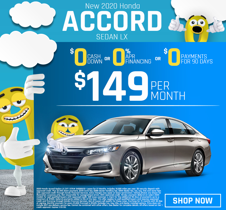 New 2019 Honda Accord Sedan LX Lease for $149 Per Month for 27 months