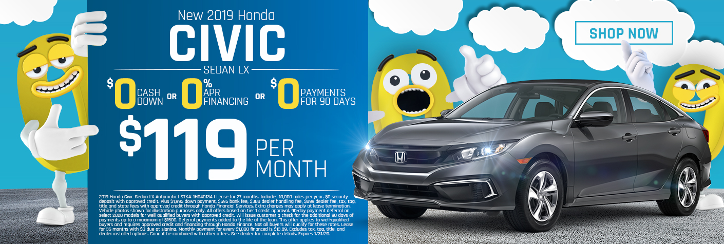 New 2019 Honda Civic Sedan LX Lease for $119 Per Month for 27 months