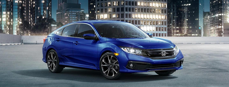 Blue 2021 Honda Civic parked