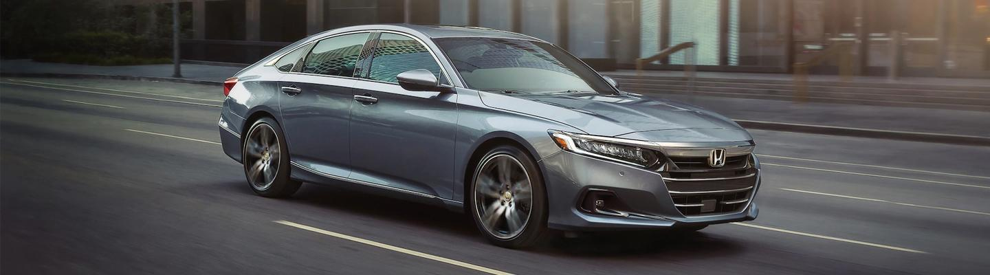 Front passenger view of the 2021 Honda Accord in motion