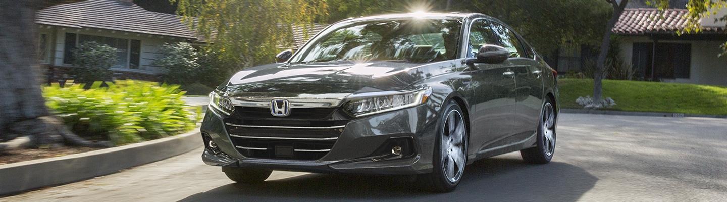 Front view of the 2021 Honda Accord in motion.