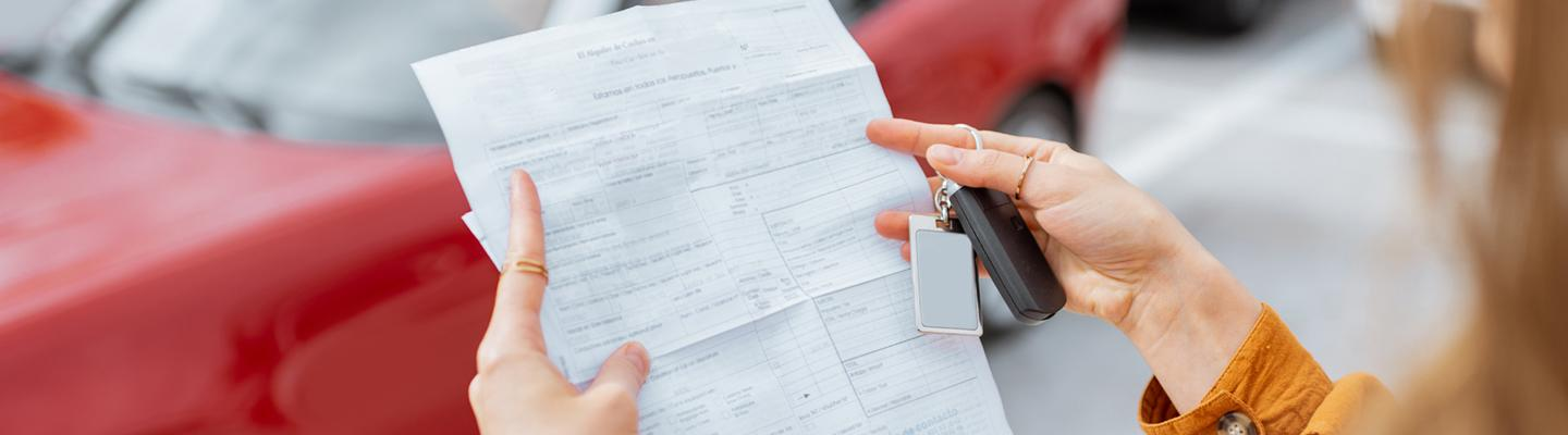 A buyer reading lease guidelines
