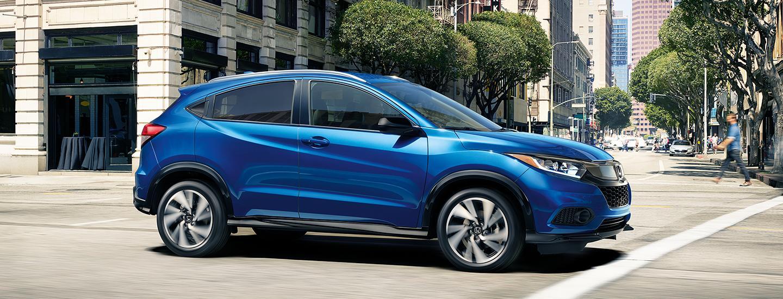 Blue 2020 Honda HR-V in city