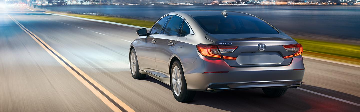 Rear view of the 2020 Accord in motion