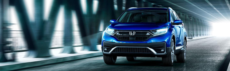 Blue 2021 Honda CR-V in motion
