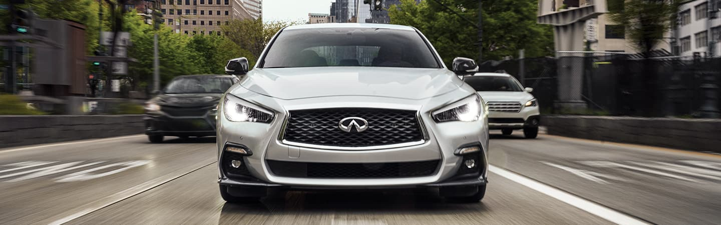 Silver 2020 INFINITI Q50 Driving - Front