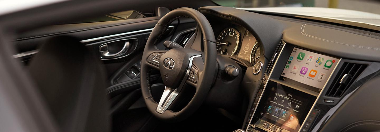 2020 INFINITI Q60 Interior - Dash, Steering Wheel, Gauges, Touch Screen, and Stereo