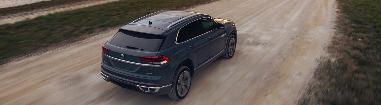 Aerial view of the 2021 Volkswagen Atlas Cross Sport in motion.