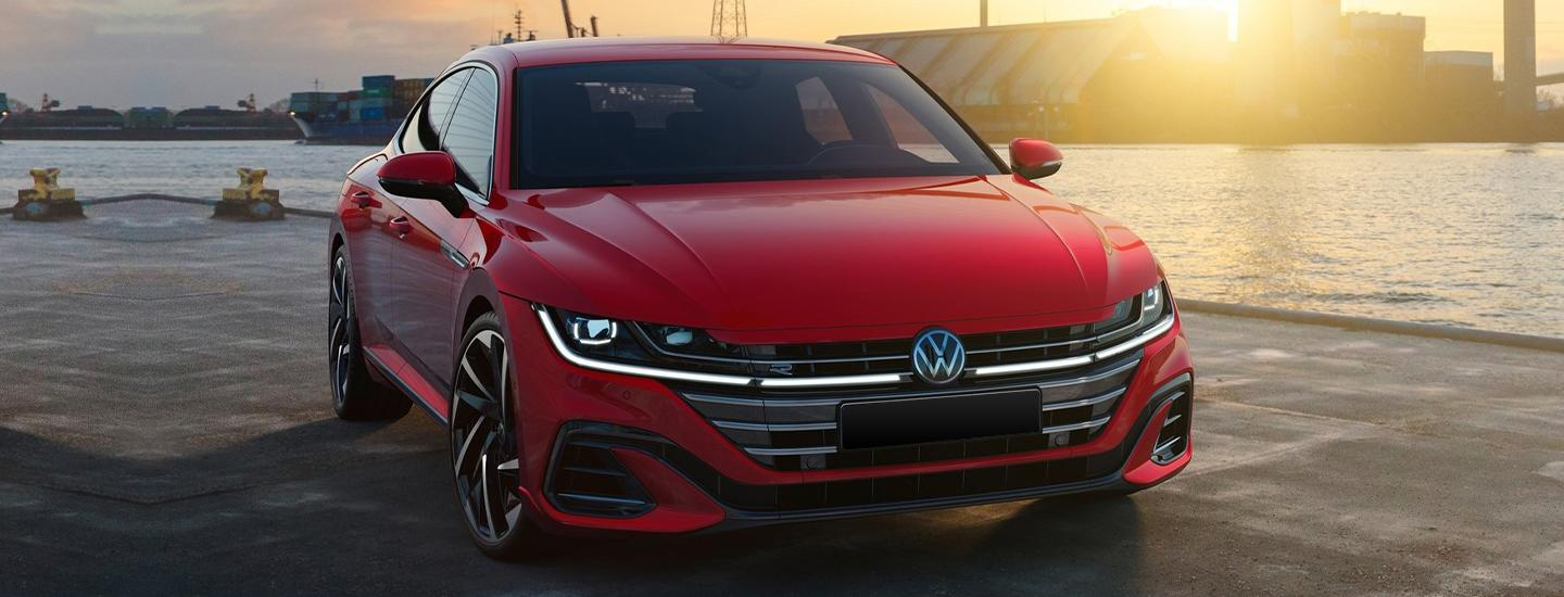 Red 2021 VW Arteon parked