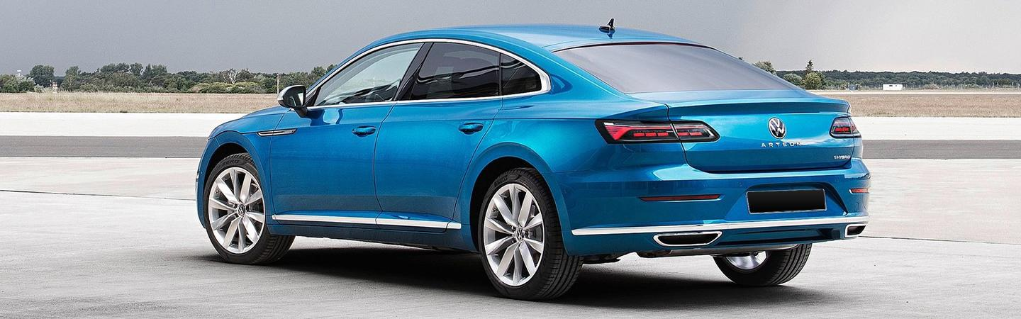 Rear driver side view of a 2021 Arteon