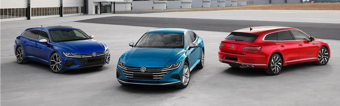 Three VW Arteon parked side by side