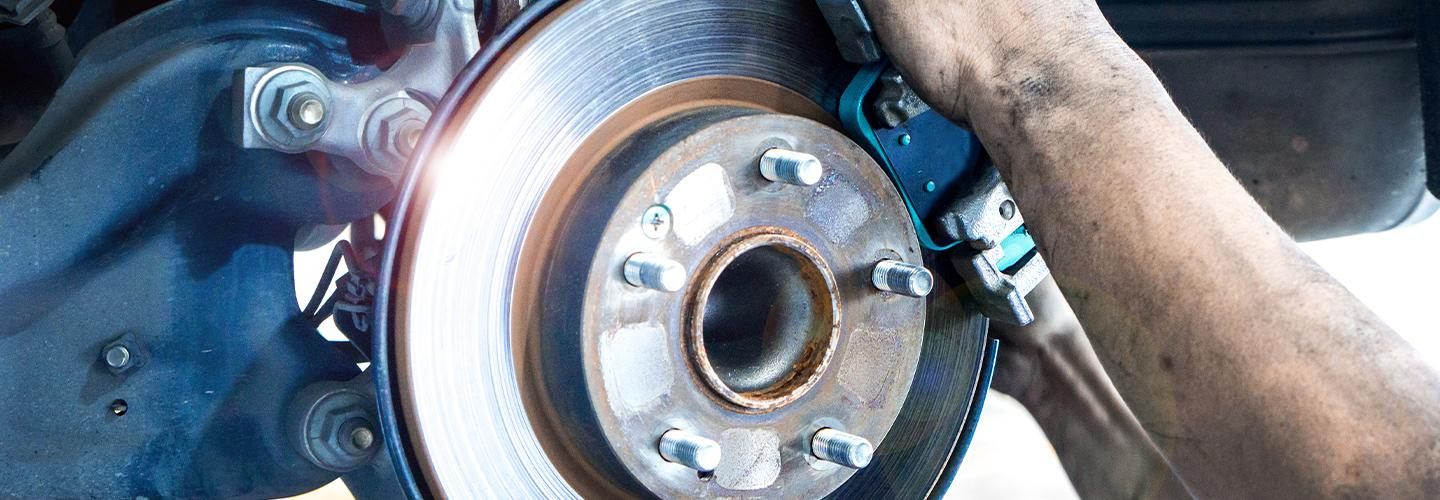 Brake service on a Volkswagen at South Motors VW Miami