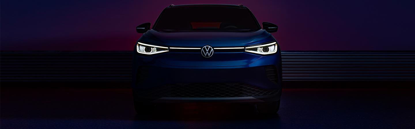 Direct front view of a Blue 2021 VW ID4
