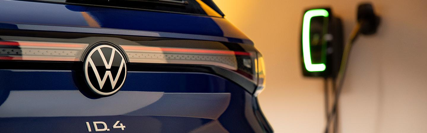 Rear view of the VW logo for a VW ID4