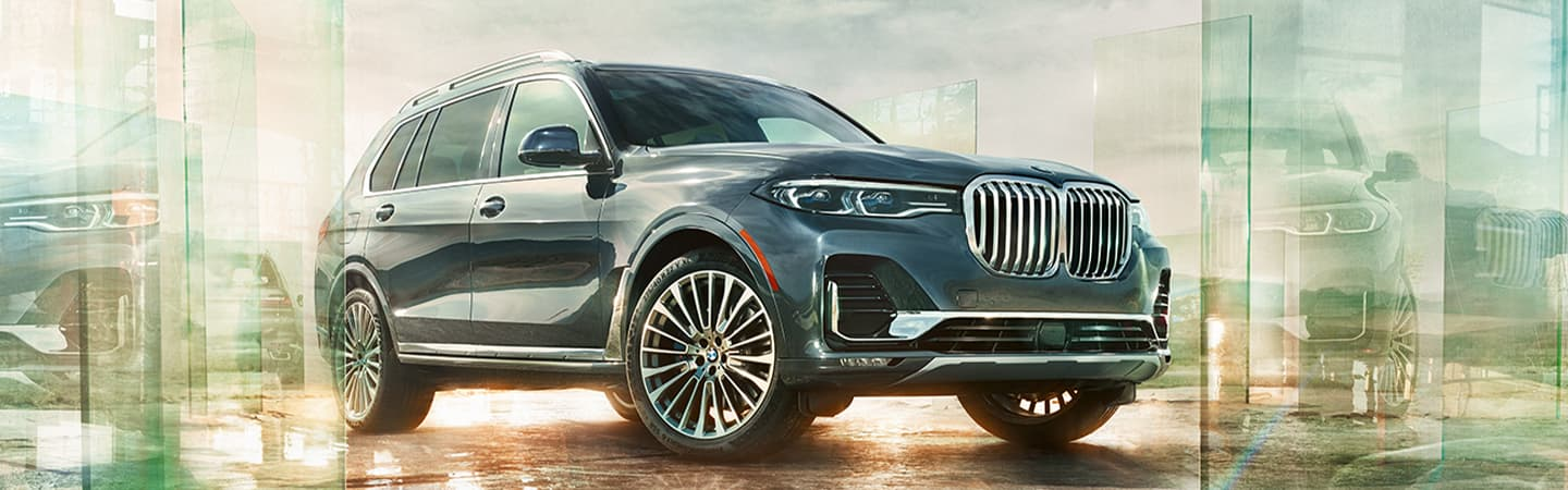 Blue Gray 2020 BMW X7 Exterior - Parked - Front and Side View