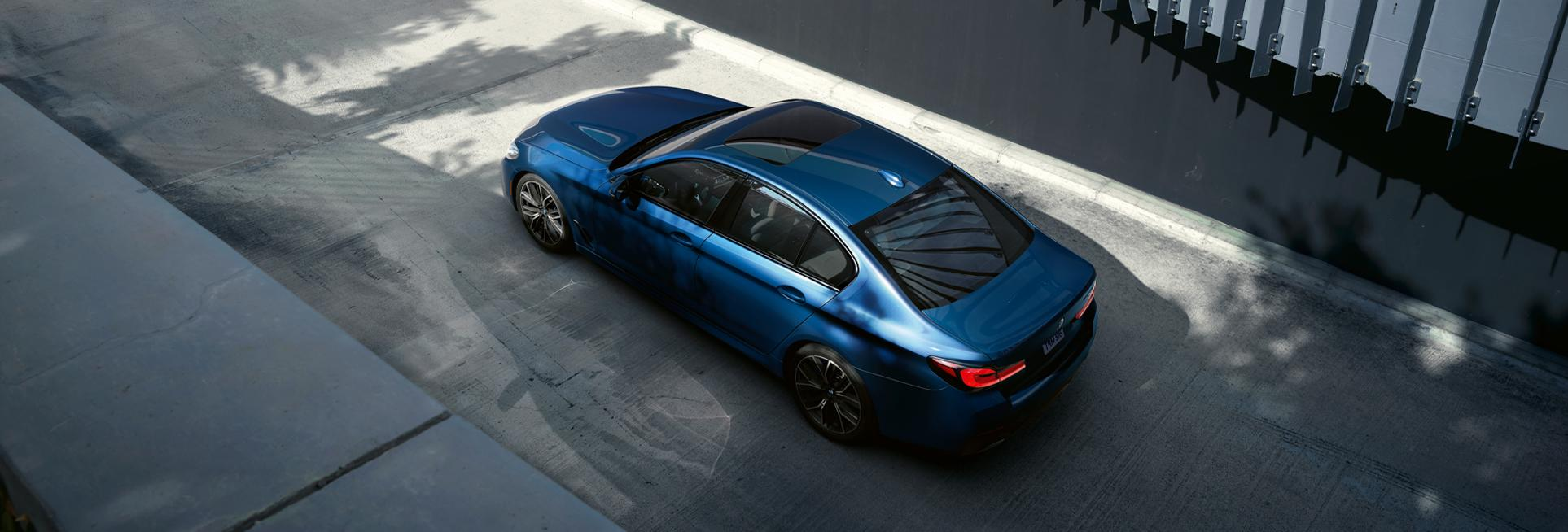 Aerial view of the 2021 BMW 5 Series in motion