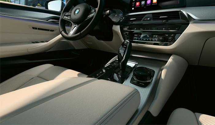 Detailed view of the 2021 BMW 5 Series dash