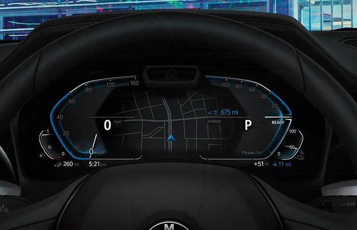 Close up view of the 2021 3 Series dash.