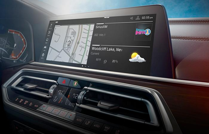 Close up view of the X5's infotainment system
