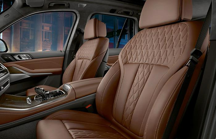 Detailed view of the 2021 BMW X5's premium interior