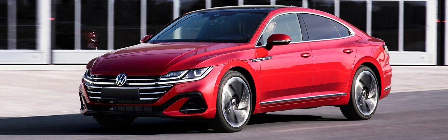 Red 2021 Arteon in motion