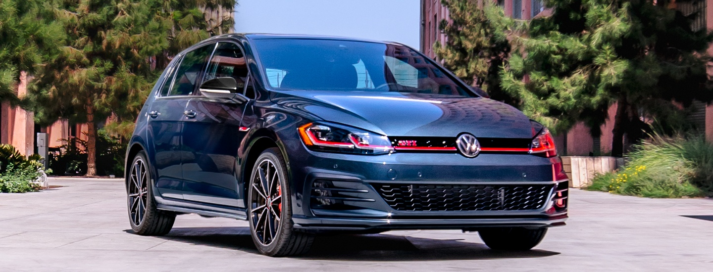 Front view of the 2021 Golf GTI in motion