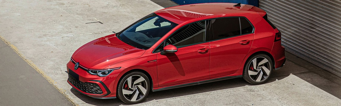 Aerial view of a red 2021 Golf GTI
