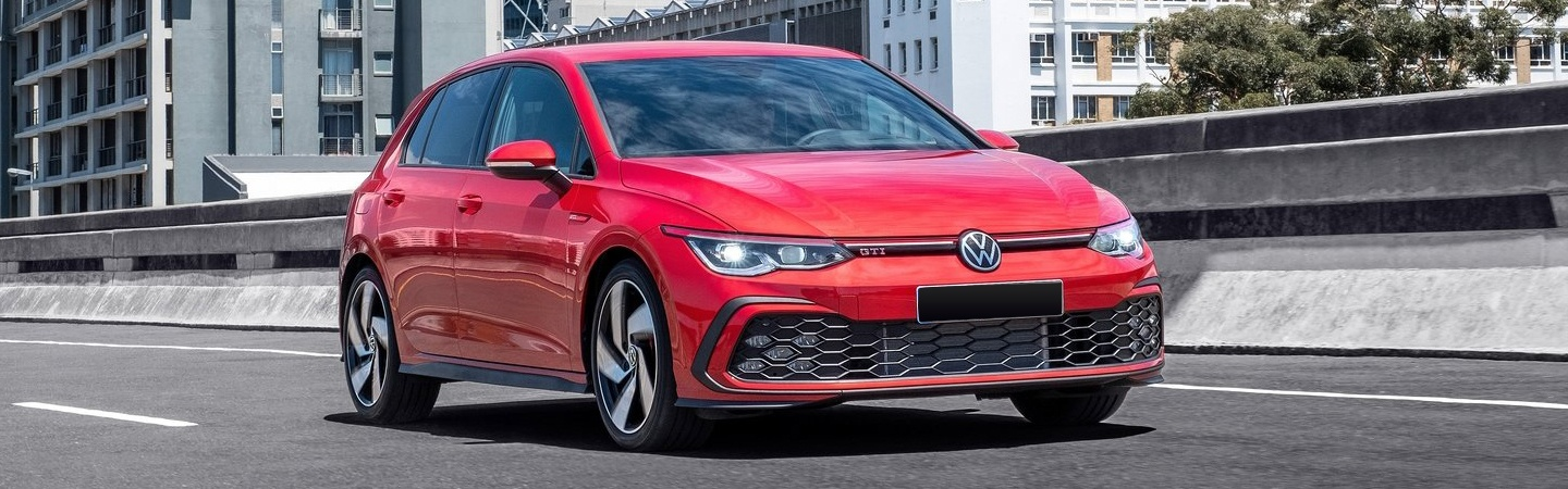 Red 2021 Golf GTI in motion