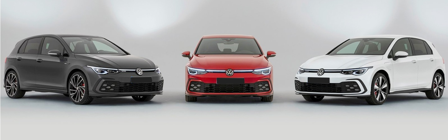 Three Golf GTI parked next to each other