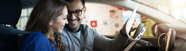 Customers sitting in car